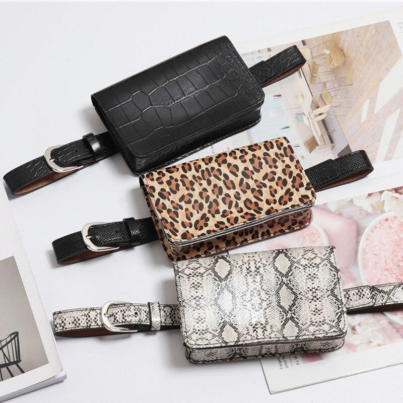 1e02029faf21 Леопардовая Женская поясная сумка модный черный ремень сумки Дорожная  поясная сумка Кошелек из искусственной кожи поясная