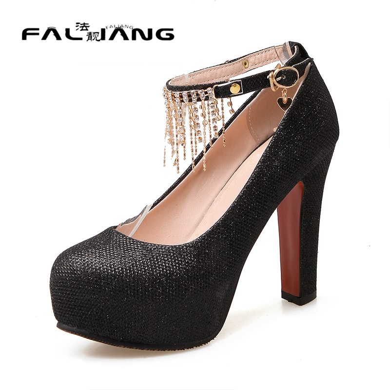 ФОТО Big Size 11 12 13 Elegant Round Toe Casual Square heel Women's Shoes Extreme High Heels Pumps Woman For Women Platform Shoes