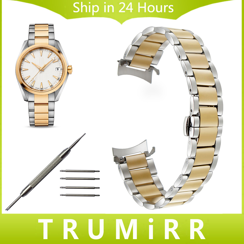Curved End Stainless Steel Watchband for Omaga Men Women Watch Band Butterfly Buckle Strap Wrist Belt 14mm 16mm 18mm 20mm 22mm curved end stainless steel watchband for rado men women watch band wrist strap butterfly clasp belt bracelet 18mm 20mm 22mm 24mm