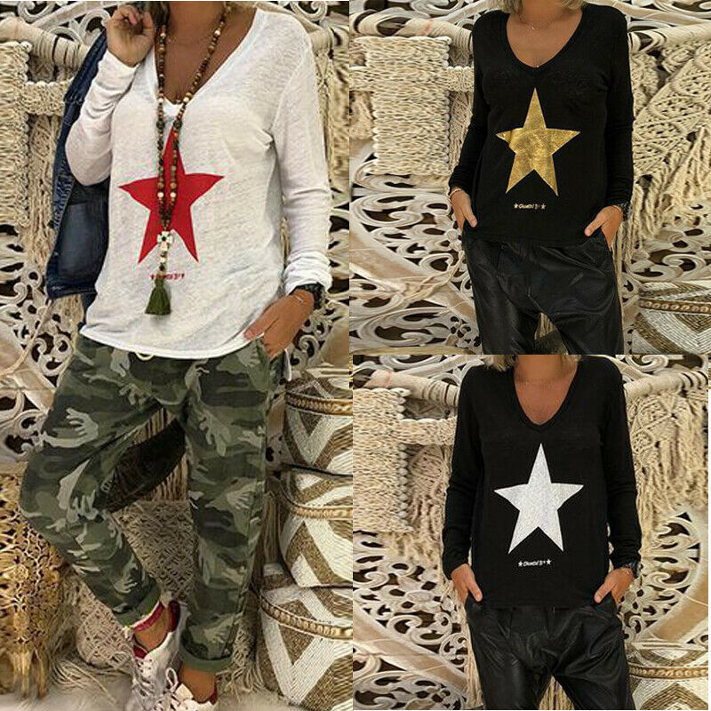 2019 Women Star Basic   Blouses     Shirt   Autumn Clothes Long Sleeve Loose Slim   Blouse   Tops Women Casual Simple   Blouses   Plus Size New