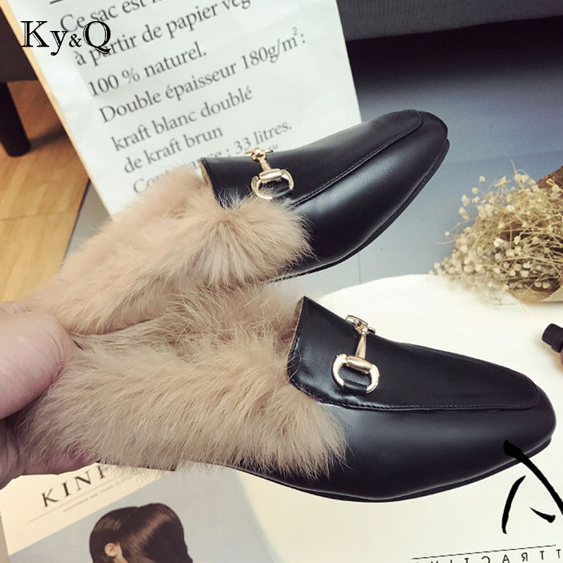 Brand Leather Female Slippers Foreign Trade Size Shoes Flat Half Wool Shoes Slippers Jurchen Fur плед foreign trade 200 220cm