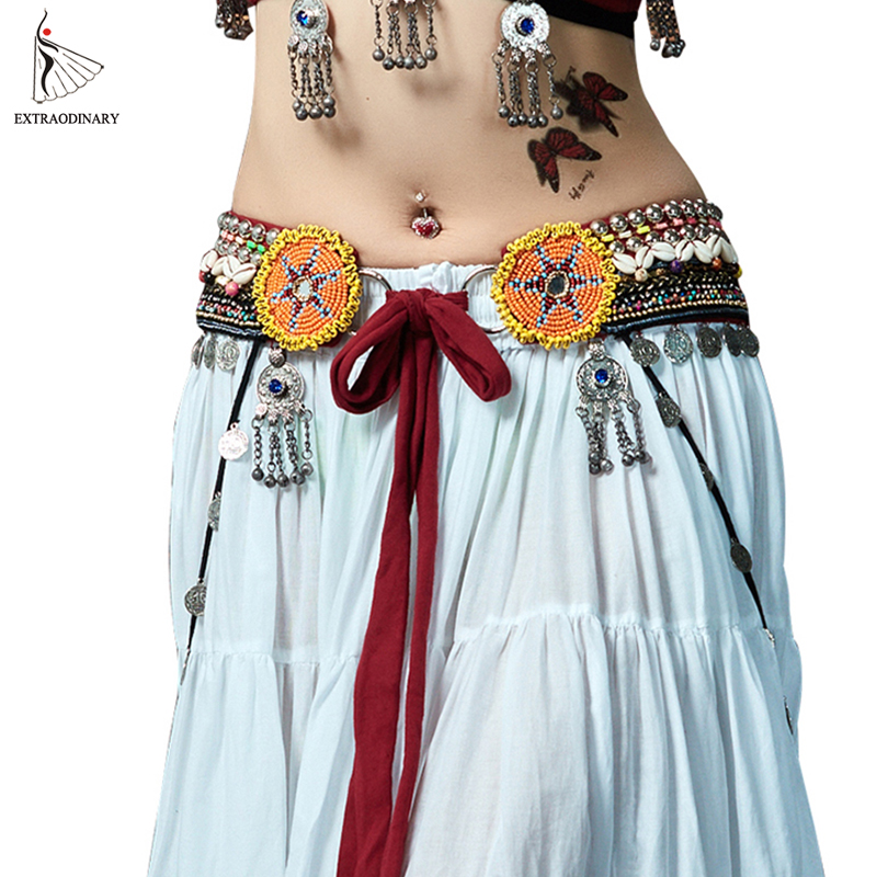 Women ATS Tribal Belly Danceing Hip Scarf Waist Belt Adjustable Belly Dance Silver Coins Bead Chain Gypsy Tribal Belts