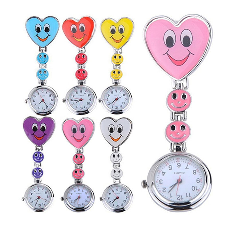 5 Colors Nurse Pocket  watch Simple Mini Clock Lovely Heart  Smile Face With Medical Nurses Quartz Watches  High Quality LL navy monkey with smile