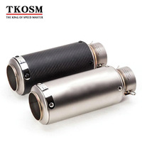 TKOSM 60MM 51MM SC Motorcycle Exhaust Pipe Scooter Laser Modified Carborn Firber Muffler Pipe For KAWASAKI