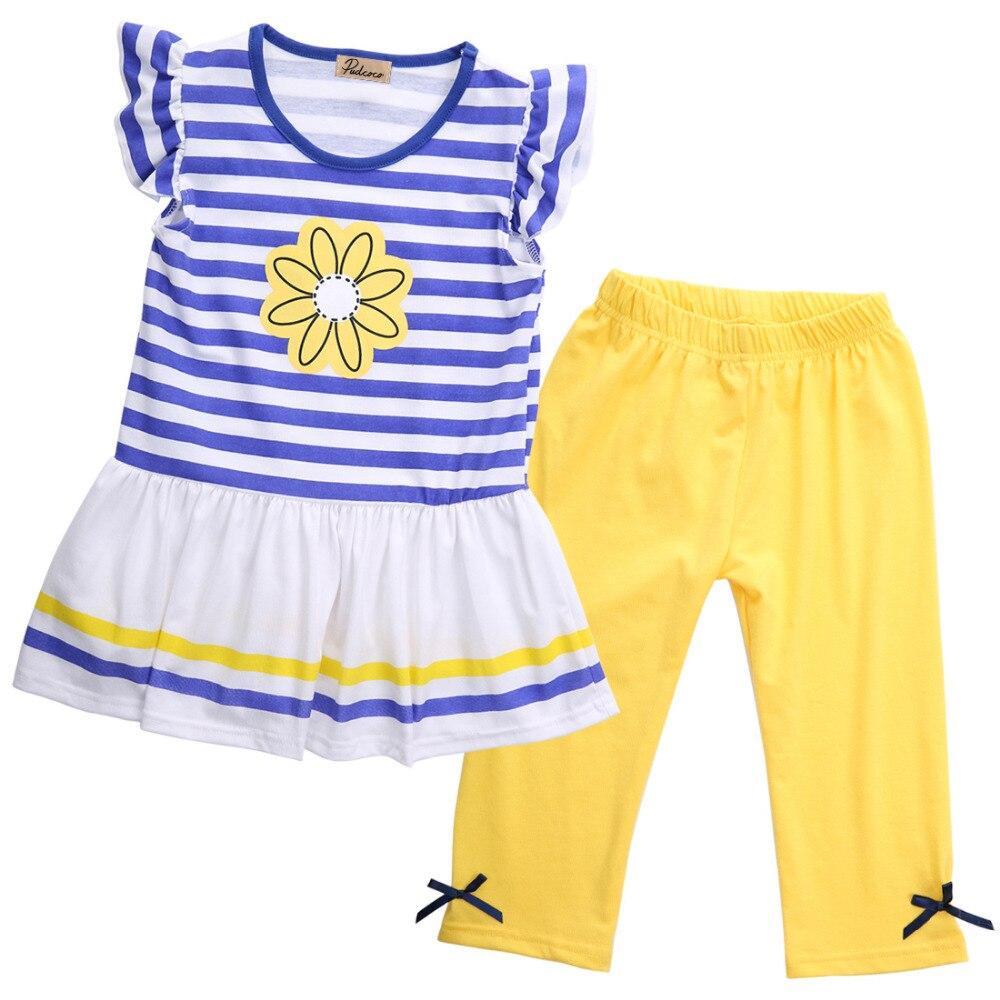 Summer Girls Clothes Set 2pcs Kids Girl Floral Striped