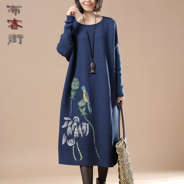 new arrival long sleeved christmas printed sweater dress autumnfall maternity dress stylish knitwear jumper - Christmas Maternity Dress