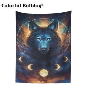 Image 2 - Moon Tapestryหมาป่าสัตว์Hippyแขวนแขวนโมร็อกโกงานแต่งงานSky Dreamcatcherมนุษย์หมาป่าตกแต่งบ้านSun Farmhouse