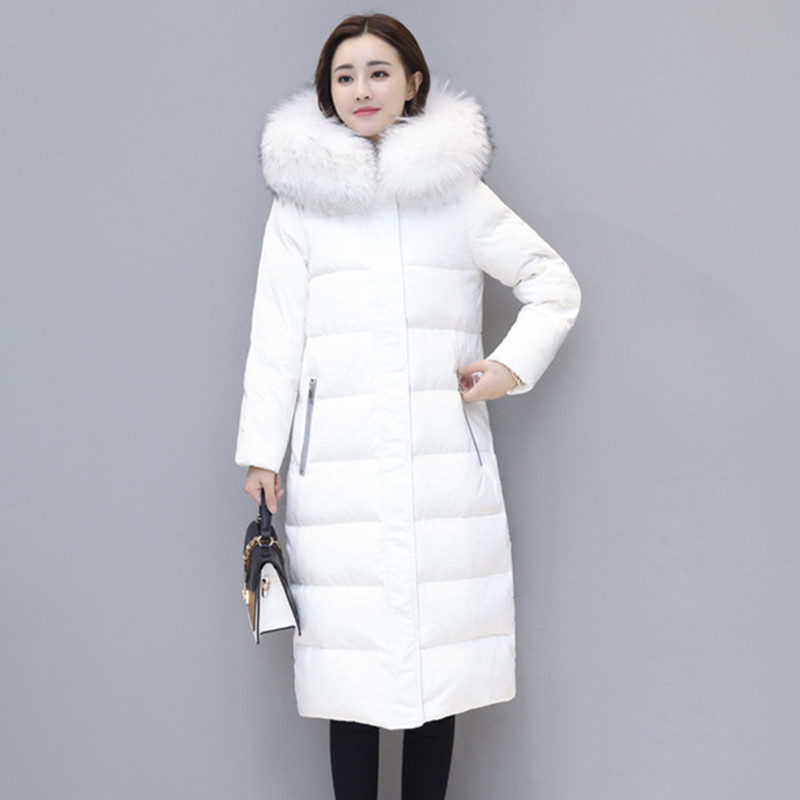 Women's winter cotton jacket Long section hooded outerwear fashion fur collar thick   Parka   Overcoat female