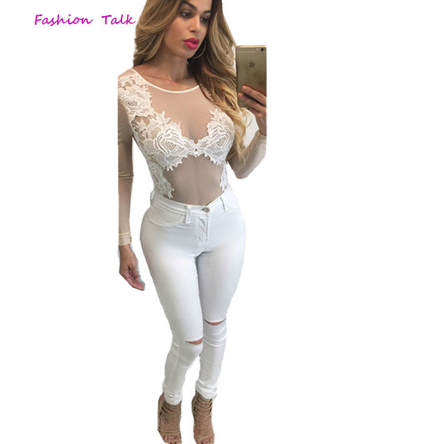 3d1d02605 2016 Summer One Piece Spandex Sexy Nude Mesh White Black Lace Jumpsuit Long  Sleeve Sheer Slim Thong Bodysuit Skinny Bodysuit Top