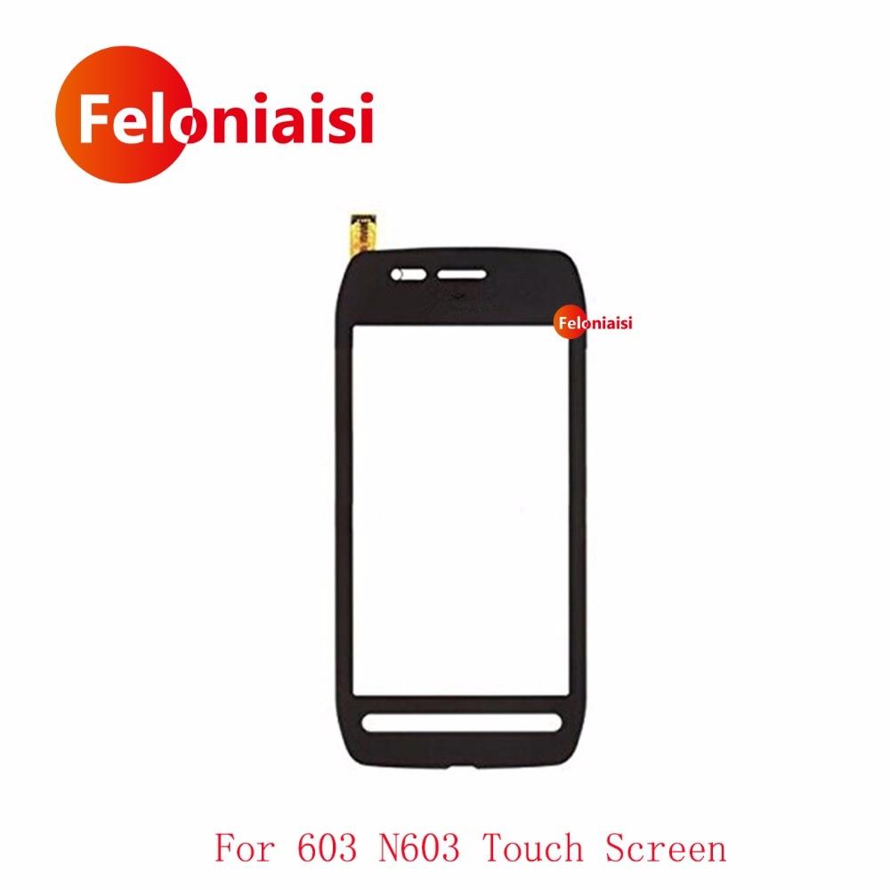 Haute Qualité 3.5 pour Nokia 603 N603 Écran Tactile Digitizer Capteur Externe Avant Lentille En Verre Panneau Noir Blanc Livraison Gratuite