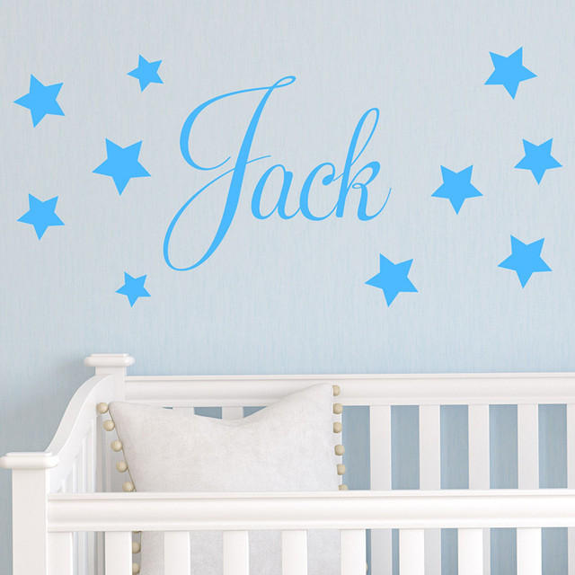 beautiful stars decors blue color children wallpaper baby room wall