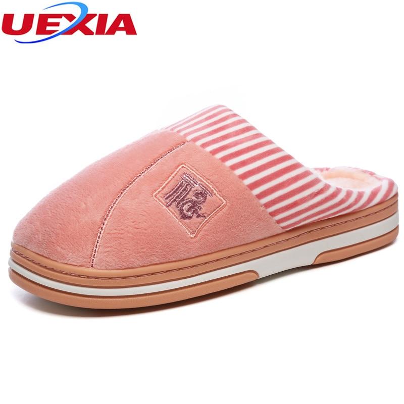 UEXIA Frauen Schuhe Zu Hause Pantoffel Für Innenhaus Schlafzimmer Wohnungen Bequeme Warme Winter Warme Weiche Weihnachtsgeschenk Baumwolle Atmungsaktiv