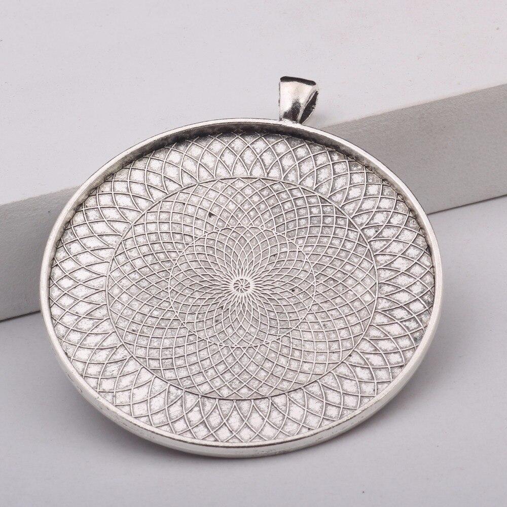 Reidgaller 5 pcs 58mm verre cabochon lunette plateaux pendentif réglages base antique argent + antique bronze bricolage bijoux raccords