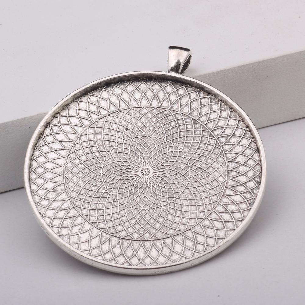 reidgaller 5pcs 58mm glass cabochon bezel trays pendant base settings antique silver+antique bronze diy jewelry fittings