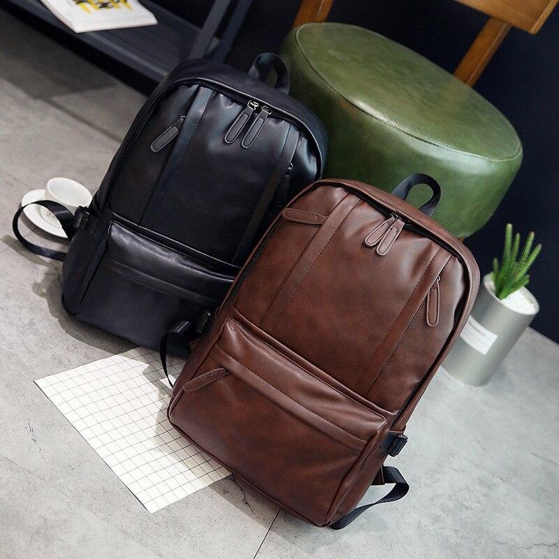 2017 New Fashion Unisex Solid Brown Black font b Backpacks b font Vintage Leather Casual font