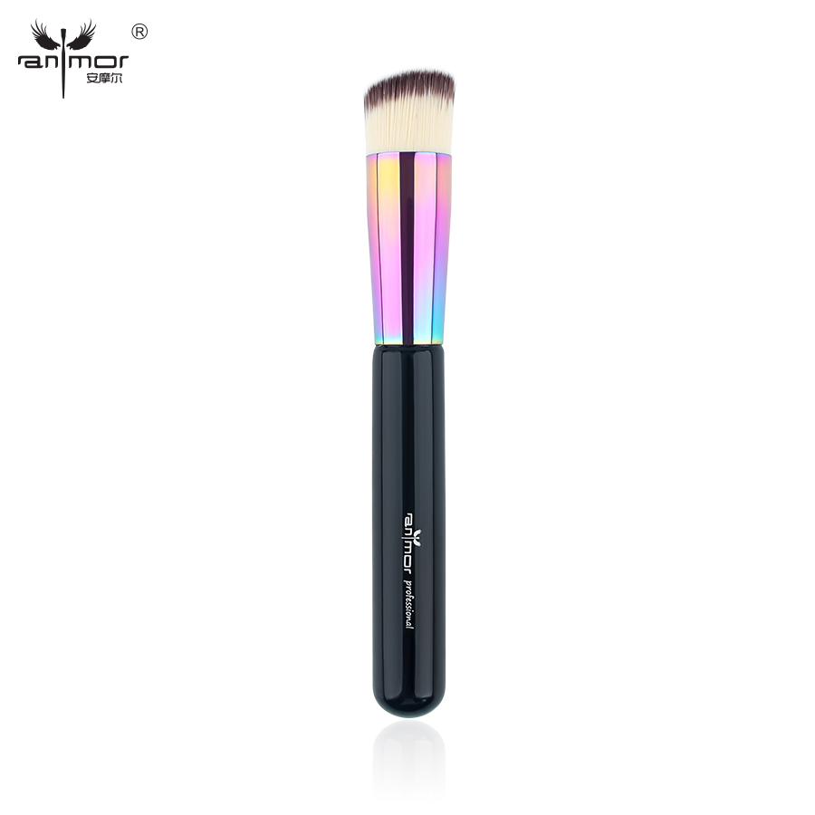 Anmor Angled Round Foundation Brush Professional Makeup Brushes for Blending liquid or cream Foundation E01 top quality foundation brush angled makeup brush