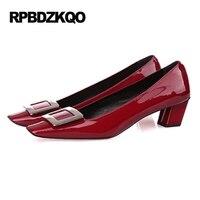 2017 Kwadratowy Nosek Wino Czerwony Rozmiar 33 Unikalne Marki Średnie Pompy blok Projektant Kobiety Luksusowe Buty Patentu Skórzane Wysokie Obcasy 4 34