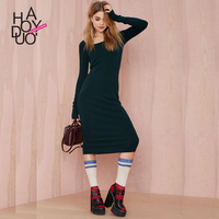 Autumn New Dress European And American Fashion Pure Color Cultivate Morality Knitting Render Long Sleeved Dress