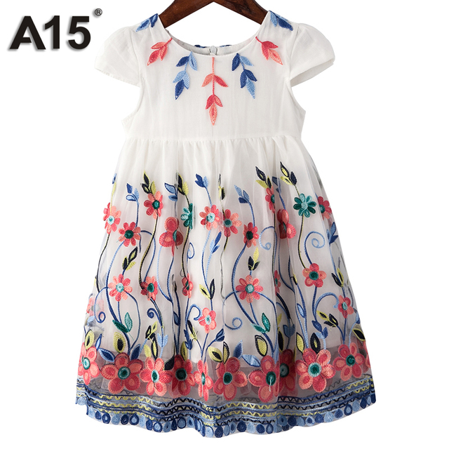 A15 Kids Dresses For Girls Birthday Clothes Party Wear Princess Dress Girl Lace Summer Size 3 4 8 10 Years