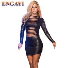 ENGAYI Brand Sexy Summer Faux Leather Latex Women Erotic Dress Sexy Lenceria Babydoll Nuisette Porn Sexy Costumes Dresses A1058