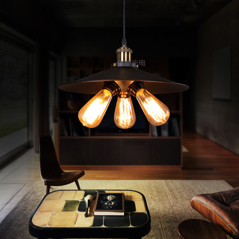 American Country Retro Creative Personality Bedside Lighting Study Bedroom Balcony Stairs, Wrought Iron Chandelier Living Room R