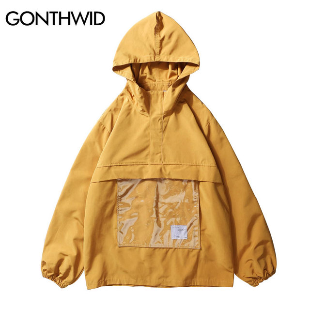 e3a1f5e5267 GONTHWID Front Transparent Pocket Pullover Hooded Jackets 2018 Autumn Men  Hip Hop Fashion Casual Hoodie Jacket