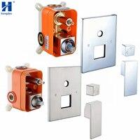 Hongdec Bathroom Square 2 Handle Solid Brass Shower Mixer Valve Control