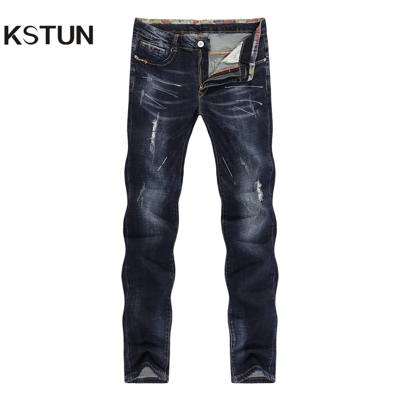 KSTUN Men's   Jeans   Ripped Striaght Slim Thick Dark Blue Elasticity Painted Soft Biker   Jeans   High Street Distressed Cowboys Pants