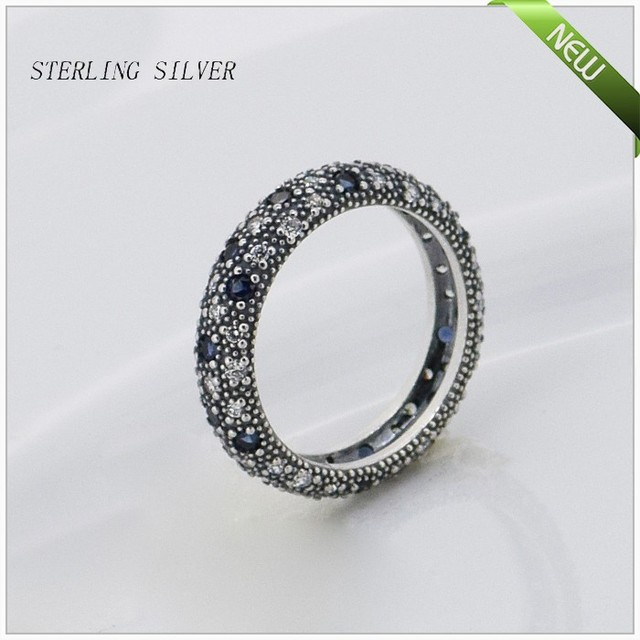 Rings with Midnight Blue Crstal and Cubic Zirconia 100% 925 Sterling Silver Fine Jewelry Free Shipping