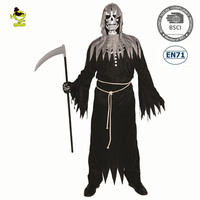 Men's Angel of Death Costume With Long Black Robe Scary Devil Role Play outfits For Halloween Carnival Party shredded robe Cloth