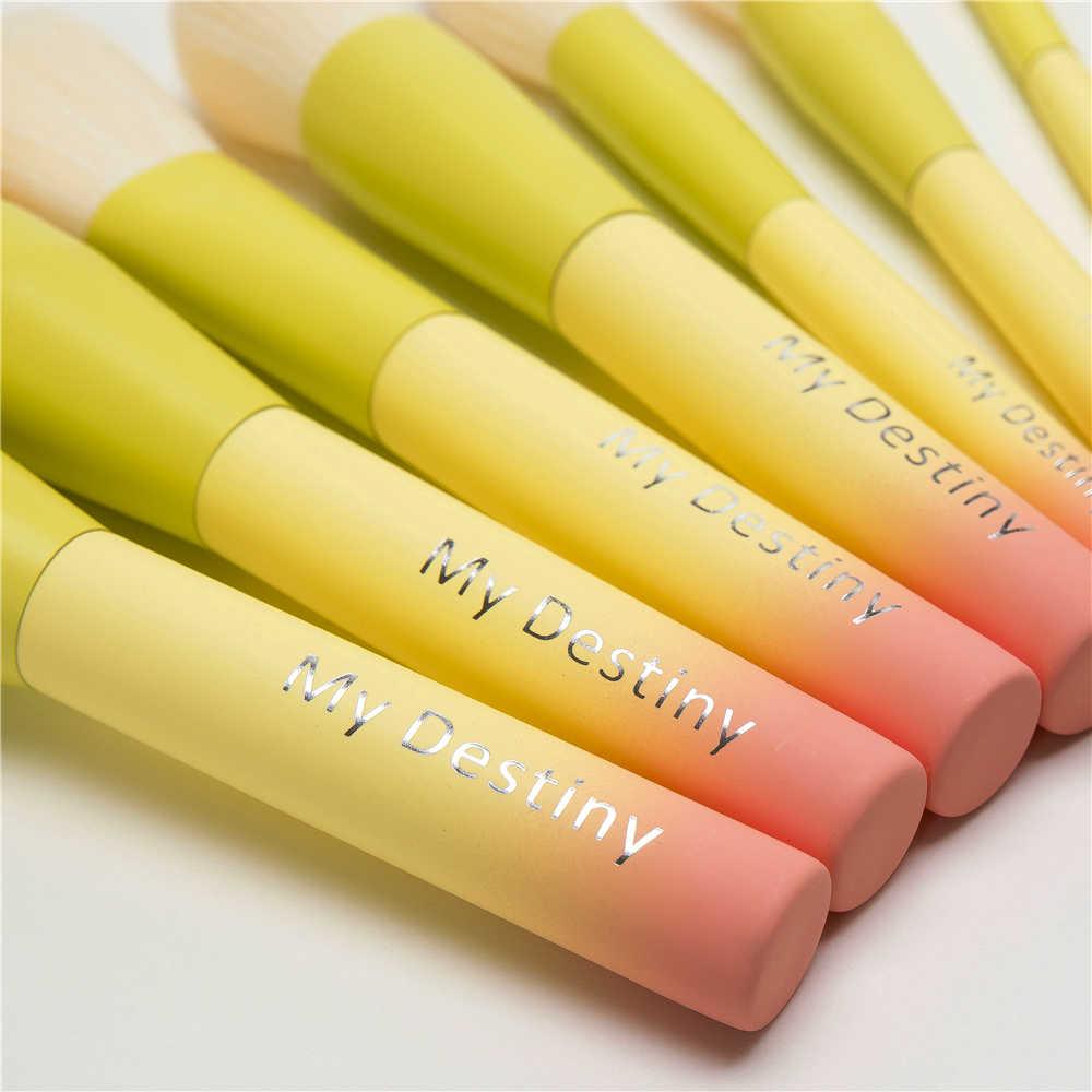 勾配色プロフェッショナルメイクブラシセットプロ 14 個化粧ブラシは、レザーバッグピンク黄色