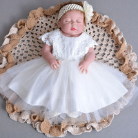 Flower Baby Girl 1 Year Birthday Party Dress with Headband Kids Clothes Girl Toddler Infant Baptism Christening Gowns Dresses