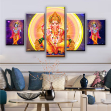 Modern Printing Modular Canvas Pictures Art 5 Pieces Elephant Trunk God Ganesha Frame Paintings Decoration For Living Room Wall