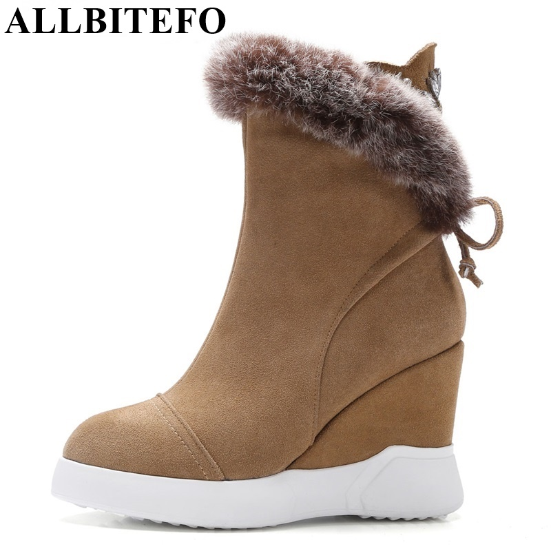 ALLBITEFO fashion genuine leather round toe wedges heel platform women boots high heels Rhinestone martin boots ankle boots 4 colors round toe charm high heel genuine leather platform martin ankle boots fashion western high quality short womne boots