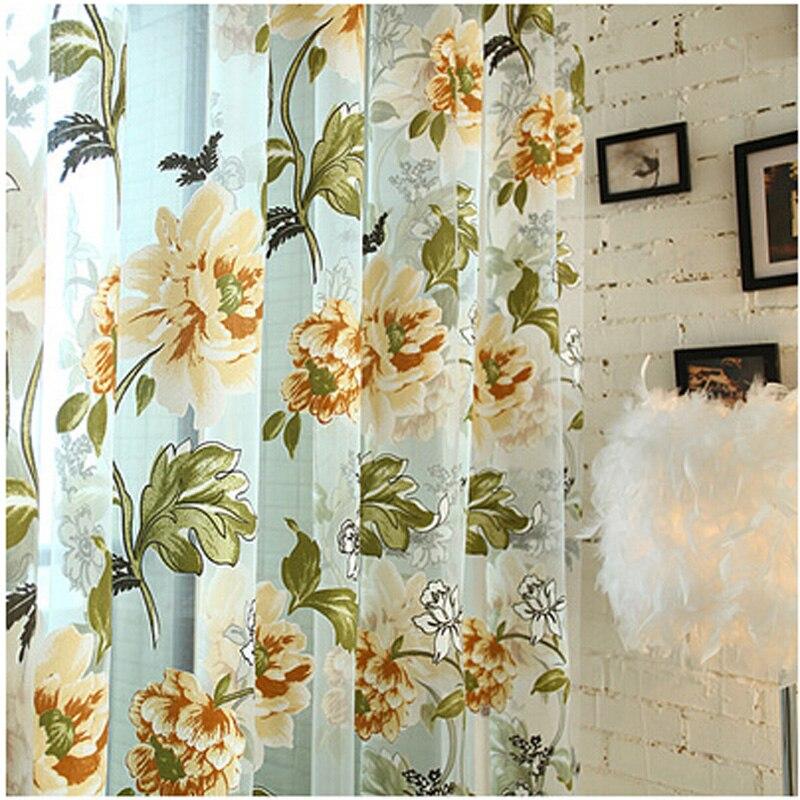 Purple Flower Curtain Sheer Tulle Curtains Window Screen Living Room