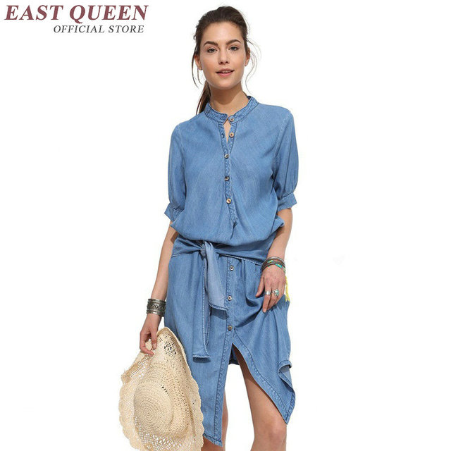 2018 del denim delle donne del vestito lungo abito camicia di denim camicia  blu del denim e69d2b5dfbb