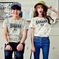 Valentine'S Day Kawaii Couple Clothes T-Shirt Women Banana Prints Letters Couple Clothing Korean Outfits Summer Style Plus Size