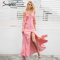 Simplee Ruffle Chiffon Summer Dress Women Sexy High Split Maxi Dress Sundress Vestidos Cold Shoulder Casual