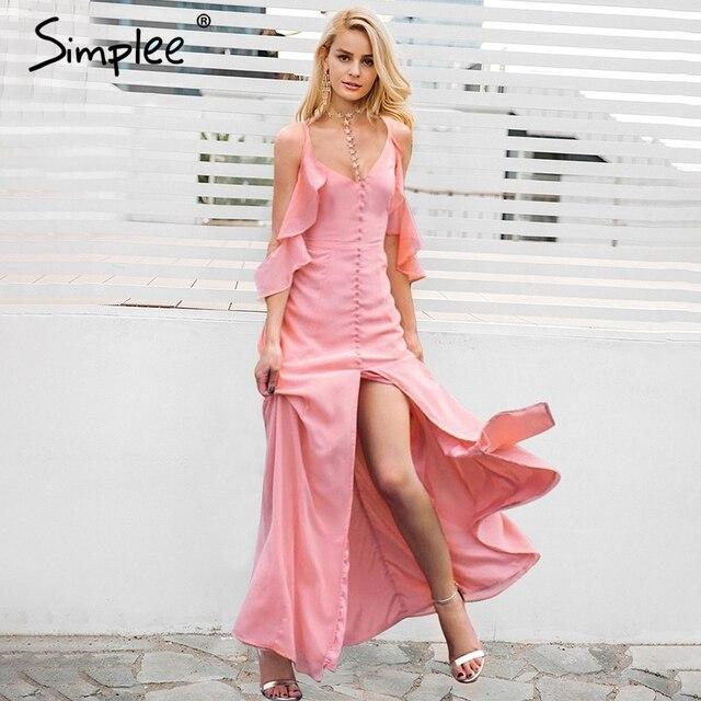 frío casual verano vestidos gasa de sexy vestido Simplee de Maxi hombro alta split vestido largo qOFxPp