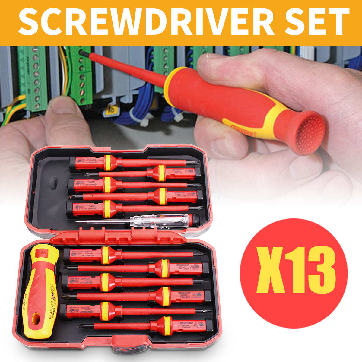 13Pcs Insulated Screwdriver Set 1000V Magnetic Phillips Slotted Torx Hand Tools With Detachable Handle