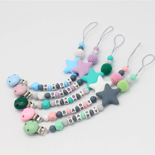 New Silicone Baby Pacifier Clips Letter Shape DIY Colorful P