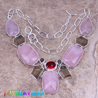 Gleaming Pink Natural Stone Gray Morganite 925 Sterling Silver Grade Necklace L696