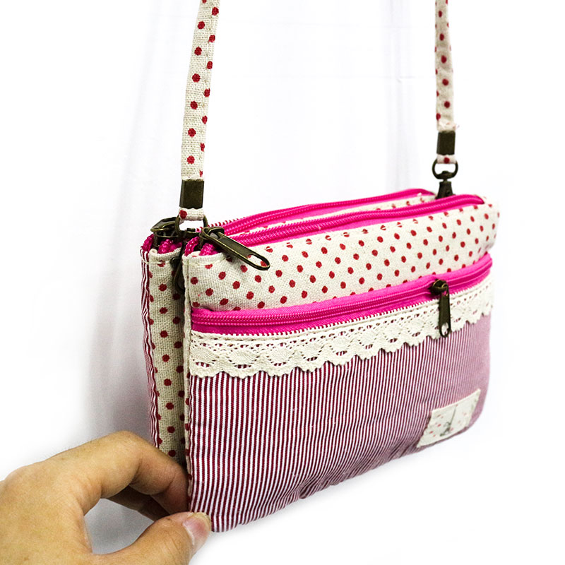 167e12179456 New Casual Small Women Messenger bags Cute Cotton Fabric Women Bags Double  Zipper Flowers Crossbody Bags for Girl Phone Pocket-in Crossbody Bags from  ...