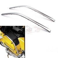 1pair Motorcycle Connecting Fairing Bow Shaped Chrome Strake For Honda GoldWing GL1800 2001 2011 GL 1800 Decoration Strips Parts