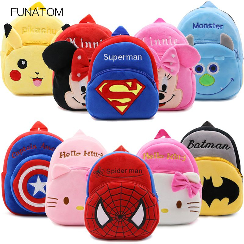 цены на 2017 Cartoon Kids Plush Backpacks Mini schoolbag Hello Kitty Plush Backpack Children School Bags Girls Boys Backpack