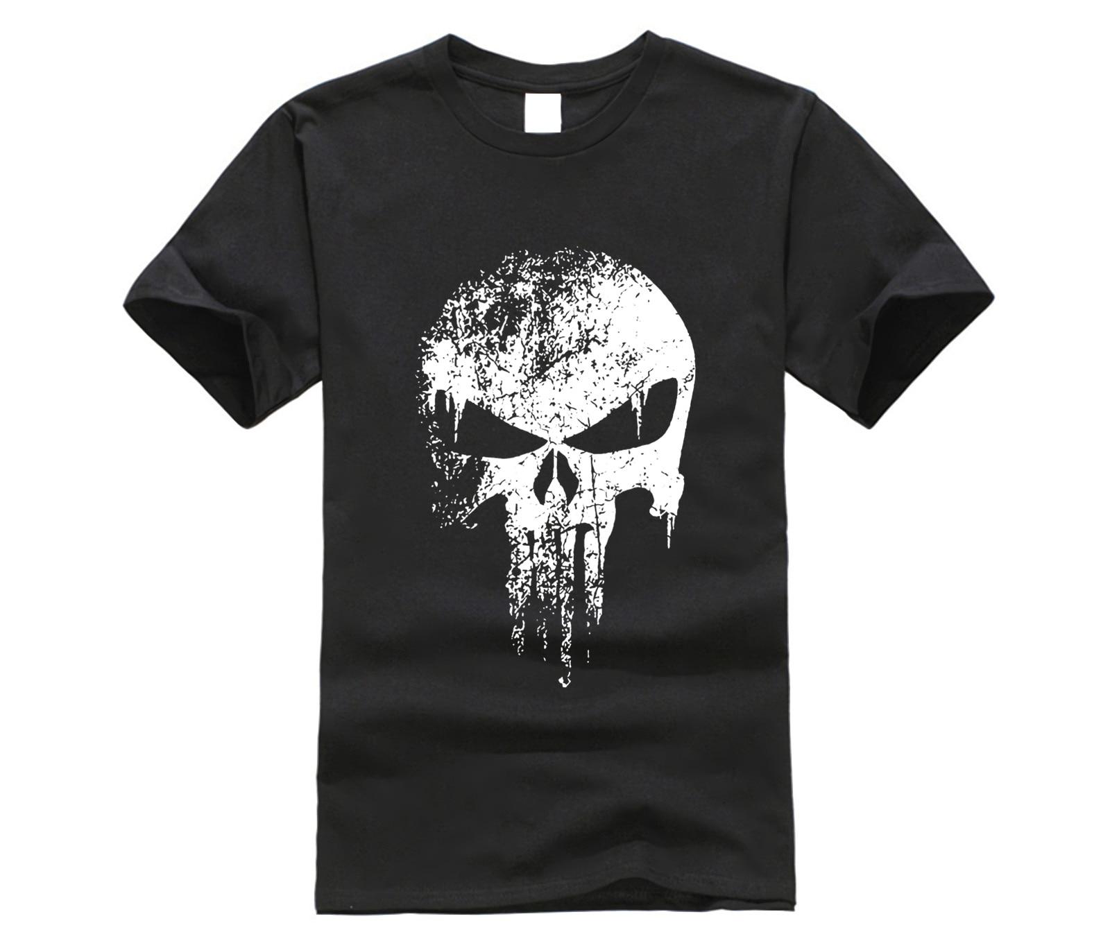 T-shirts Cooperative Punisher Skull Vintage T Shirt Digital Printing Superhero Streatwear Men Mma Clothing 100% Cotton Short Sleeve T-shirt Plus Size