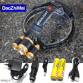 3 LED Headlight 8000 Lumens CREE XML T6 + 2*R5  Zoom High Power LED Headlamp outdoor +2* 18650 Battery+ AC/Car Charger+1*USB