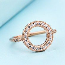 Hearts Halo ring 925 sterling silver jewelry with rose gold ring wedding Rings for women men anillos fine jewelry