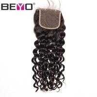 Beyo חלק חופשי 4x4 סגירת תחרה גל מים פרואני אדם צבע טבעי שיער עם תינוק שיער שיער הלא רמי משלוח חינם