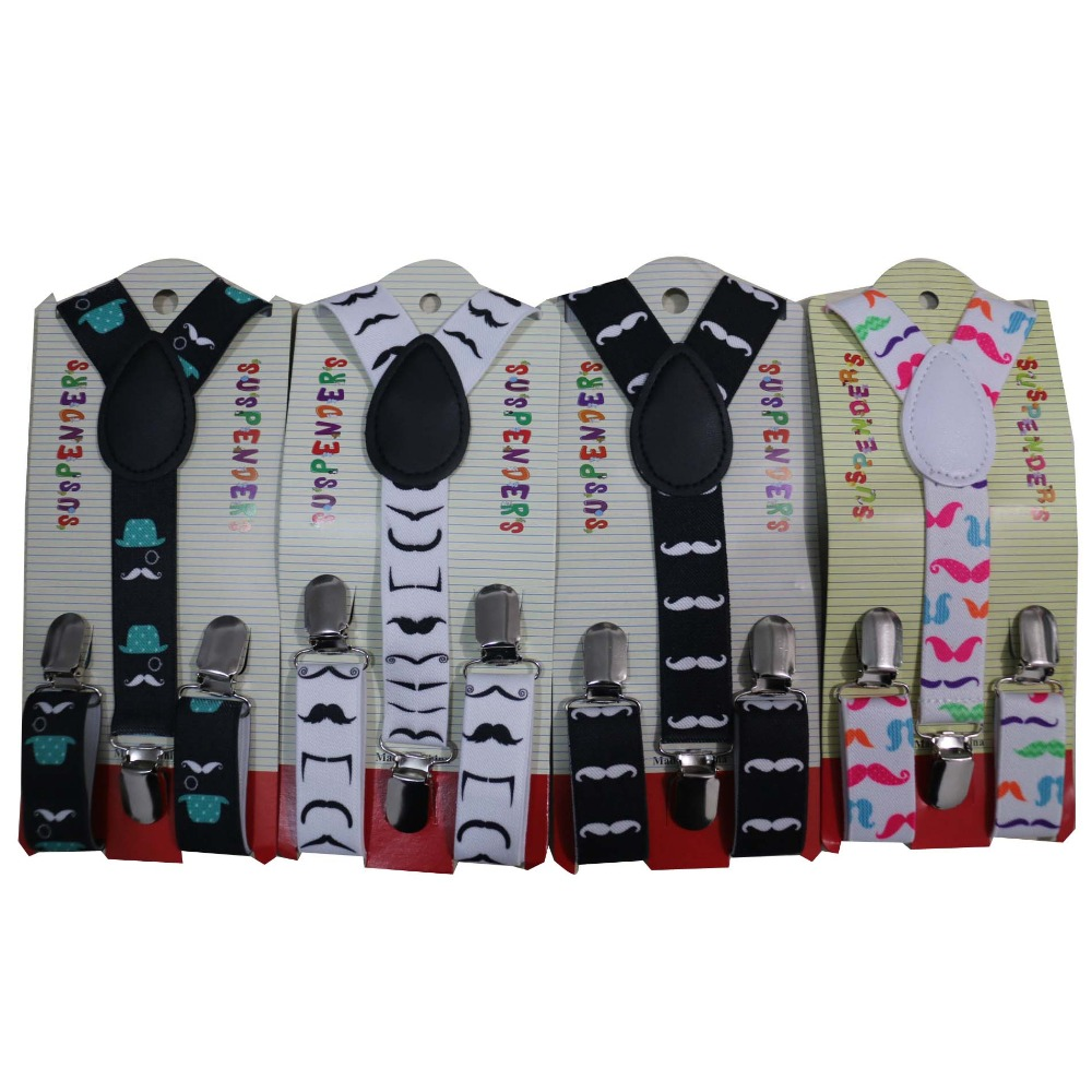 Free Shipping 2019 New Cute Boys Toddler Black White Moustache Suspenders Braces For Children Kids